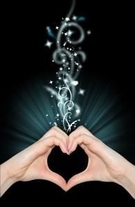Love magic, hands of heart shape